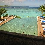 View of the infinity pool/beach from the hotel lobby
