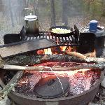 The fire pits in Campsite 2 have built in grills.
