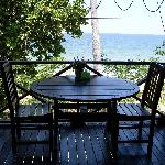 A table overlooking the beach