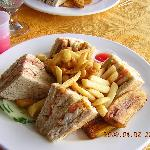 Hotel lunch: Fish sanwich, fries, fried plaintain