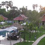 View from the penthouse suite of the pool and villas