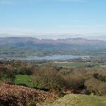 View into valley and Llangorse lake (B&B in village to right of lake)
