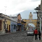 View down the street from entrance to Posada