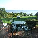 Wonderful view and patio for outdoor dining.