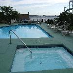 Pool (unheated) with hot tub.