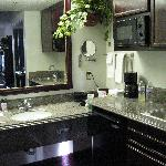 Granite counters/micro/fridge/bar sink