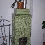 Majolica fireplace in our room