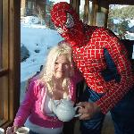 Phil as Spiderman at Breakfast