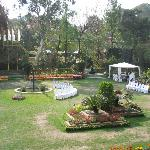 The famous garden, preparing for a party