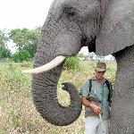 Doug with Jabu in Okavango Delta