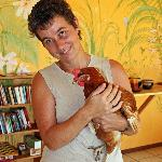 Ingrid and a chicken