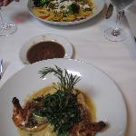 Our main courses, vegertarian pasta and crusted chicken.
