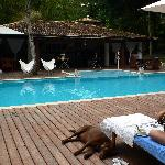 relaxing around the pool