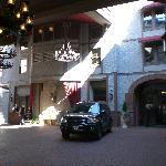 The valet stand and drive-in entrance