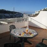 Breakfast on the huge balcony