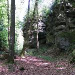 "The ""Felsenweg"" leads along impressive sandrocks."
