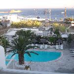 View of pool area and Platy Gialos
