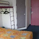 View of room showing bed, overbunk, door to bathroom and main door, Etap Hotel, Berck-sur-Mer, M