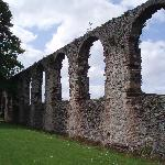 The old cathedral walls surrounding the garden