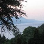 view from bedroom window, twilight over Loch Ness