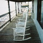 Rocking chairs on deck in front of room