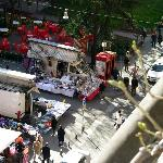 View from balcony of weekend square block market.