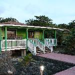 The tropical bungalow we stayed in, overlooking the Carribean Sea