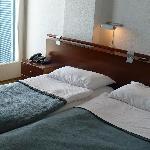 The beds and balcony door