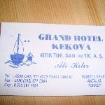 la carte de visite de l'hôtel pour mieux l'éviter!