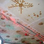 The adorable ceiling with pasta glued everywhere!