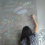 I love this wall, you can introduce ppl that where are you from.... WE FROM TAIWAN!!