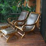 Comfortable lounge chairs on deck