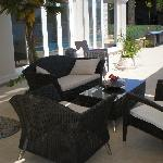 sitting area by the pool