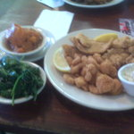 Seafood Platter (shrimp, oysters, fish) w/citrus spinach & candied yams