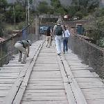 Crossing the bridge to the hotel