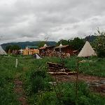 View of the Snowmansion's tipis from our cabin