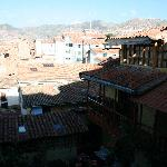 the view from our room across the courtyard and towards Cusco