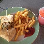 Coconut Chicken Wrap with Fries and Fruit Punch