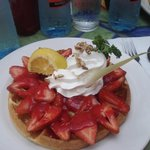 strawberry and creme waffle
