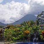 view of arenal from the pool