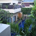 Phirus-3 bedroom villa-looking across down to pool and across to one-bedroom apartment