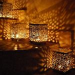 Candles in the bedroom at night