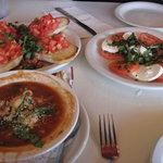 fresh mozzarella & tomatoes, bruschetta, minestrone at Luciano's
