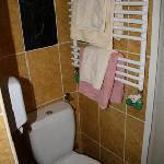 Toilet and towel rack behind door