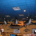Big Fish hanging from the ceiling inside BIG FISH Grill