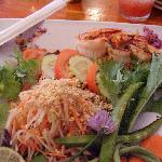Lemongrass prawns and papaya salad