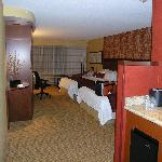 The room with dry bar & fridge