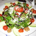 Rocket salad - rocket, tomatoes, apples, walnuts, parmesan, pomegranate seeds, sundried tomatoes