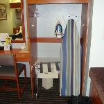 Came in handy:  an iron, ironing board, some hangers and a safe.