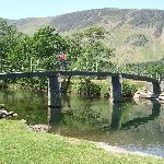 Crossing Chinese bridge from Manesty footpath/Derwent Water,Lake District,Cumbria.